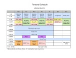 Sample personal schedule