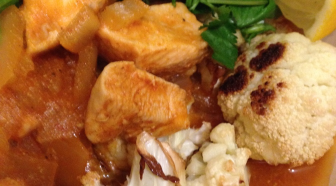 Chicken Curry on Roasted Cauliflower